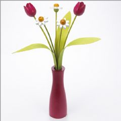 3 white Daisies, 2 pink Tulips with 3 green leaves with pink 'cool' vase